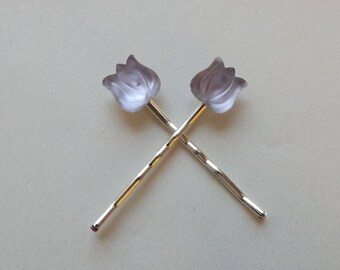 Vintage Purple Tulip Hair Pins - Pair of silver bobby pins - Czech Glass Cabochons