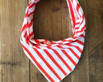 Red and White Stripe Dog Bandana//