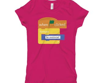 Scratch Inspired T-shirt | Girl Power | Empowered Girls | Girls Tee | Coding is for Girls | Nevertheless She