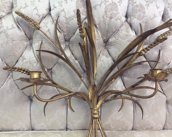 Hollywood Regency Italian Gilt Metal Sheaf of Wheat Wall Sconce 1960's
