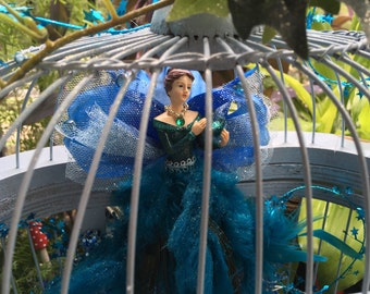 The Blue Fairy, faerie diorama, fae blue lady