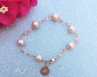 14kt Rose Gold Filled ~ Pink Freshwater Pearl ~ Rose Quartz ~ Personalized Monogram Bracelet ~ KAW