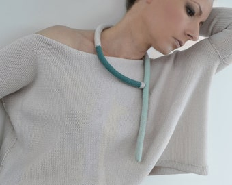 pastel knitted necklace - summer okapi necklace - minimalist jewelry
