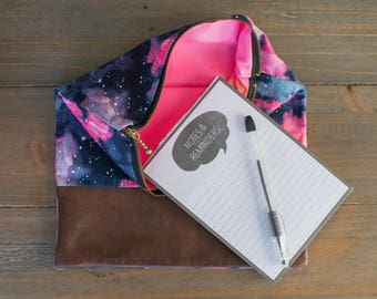 Galaxy Fold Over Leather Clutch