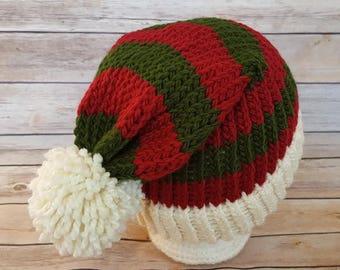 Elf Hat, Red Green Santa Hat, Elf Beanie Hat, Winter Hat, Knit Christmas Hat, Christmas Hat, Slouchy Elf Hat, Knitted Elf Hat, Knit Elf Hat