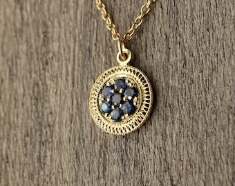 Vintage Inspired - Art Deco - Royal Blue Sapphire - Hand Engraved - 10K Yellow Gold Pedant - Traditional Pave Circle