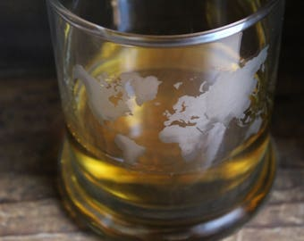 World Map Whiskey Glass/ World Map Glass/ Etched Whiskey Glass