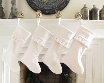 White Linen Christmas Stocking Cuff Ruffle Top