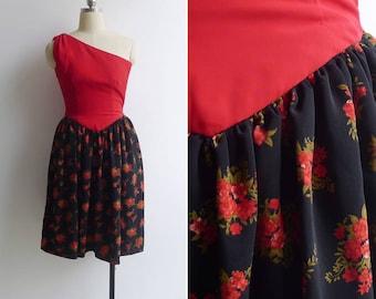 Vintage 80's Does 50's 'Flaming Florals' One Shoulder Dress XXS or XS