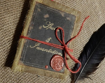 Spells and Incantations Handmade Book (Small), Handmade Spell Book, Witch Craft, Wiccan, Witch Wizard, Junk Journall, Handmade Halloween
