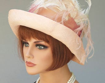 Royal Ascot Hat, Miss Fisher Hat, Formal Hat, Feather Hat, Cloche, Downton Abbey Hat , Gatsby hat, Flapper hat