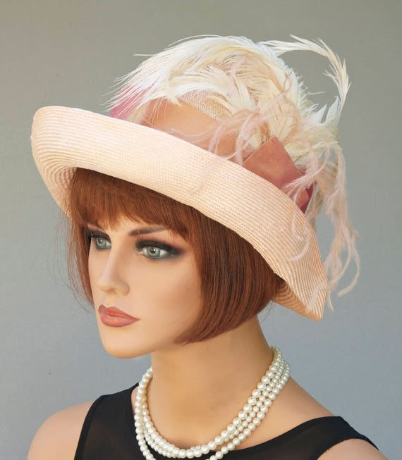Derby hat, Ascot Hat, Miss Fisher Hat, Formal Hat, Feather Hat, Cloche, Downton Abbey Hat , Gatsby hat, Flapper hat