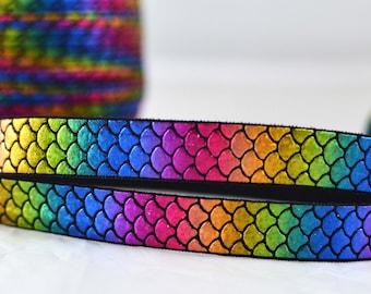 "Rainbow Iridescent Shiny Mermaid Scales Fish Print FOE Ribbon  5/8"" wide RS1015"