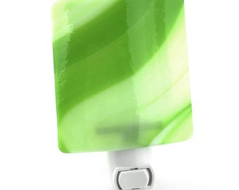 Plug In Night Light, Dark and Light Green Art Glass