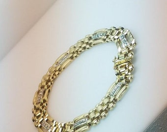 10k Gold Bracelet W/ 1/2ct Diamonds