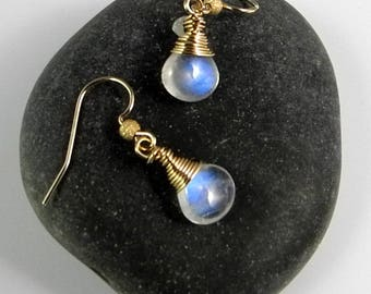 Blue Flash Rainbow Moonstone Earrings in Gold for a Special Gift, Wire Wrapped AAAAA Quality, Briolette Shaped Dangle Earrings