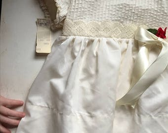 Girls Vintage 2t dress--sheer cream with Queen Anne lace and red rose