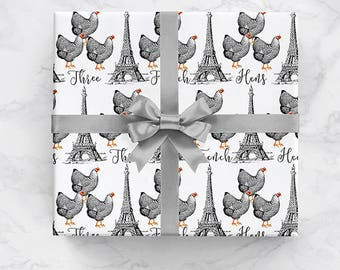 Three French Hens Christmas Wrapping Paper Roll, Three French Hens Christmas Gift Wrap, 12 Days Of Christmas Holiday Pattern Gift Wrap