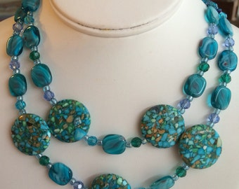 Turquoise and Random Double Swag Metal Stone Necklace.