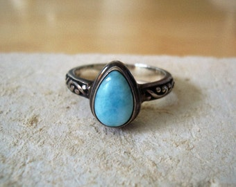 Vintage Pear Shaped Natural Larimar Sterling Silver Ring