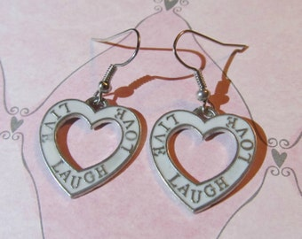 """Earrings - Handmade Charming Style for Valentine's Day """"Live Laugh Love"""" White Hearts"""