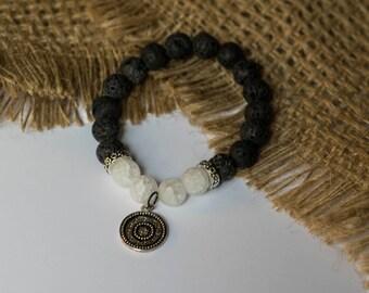 Black Lava Stone Beaded Bracelet w/ Snowflake Quartz