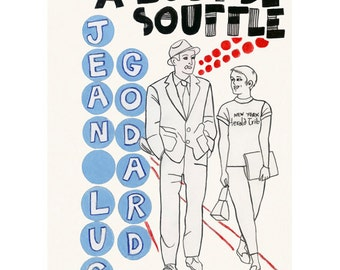 """Movie Poster Cult French Film art print Breathless - A Bout de Souffle -   4"""" X 6"""" print - 4 for 3 SALE"""