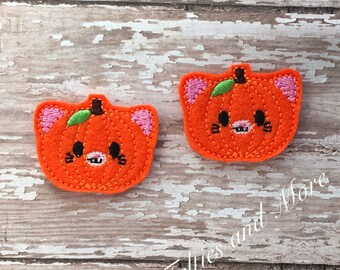 Pumpkin Feltie, Kitten Pumpkin Feltie, Pumpkin Felties, 2 Embroidered Felties, Kitten Felties, Autumn, Fall Feltie, Pumpkins, Cut Felties