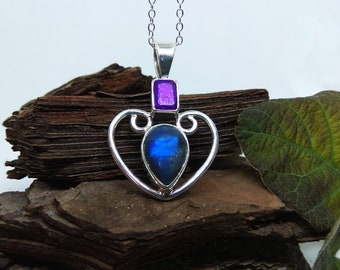 Radiant Amethyst and labradorite heart pendant, unique handmade silver-mounted design
