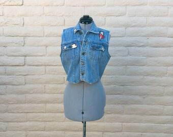 Vintage Betty Boop Denim Jean Vest With Pins SZ M 90s
