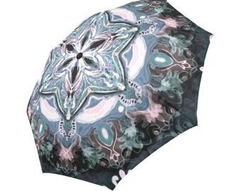 Mandala Artistic umbrella- Large and automatic foldable umbrella- Rain and sun- customizable-Handpainted design