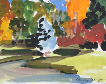 October in the garden, ORIGINAL handmade egg tempera on postcard  abstract landscape painting by Shirley Kanyon, 5.9x8.3 inch, 15x21 cm