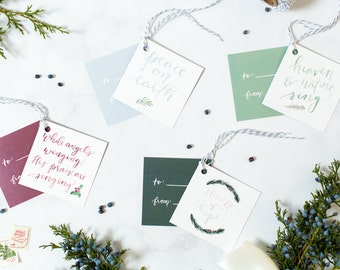 Holiday Gift Tags - Watercolor Hymns - Set of 8