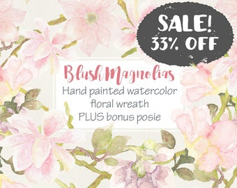 Sale - 33% off! Watercolor wreath of blush Magnolias; wedding clip art; watercolor clip art; hand painted flowers; instant download