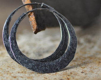 dark patina silver hoop earrings with raw silk hammer texture, round hoops endless style, small, medium, and  large sizes
