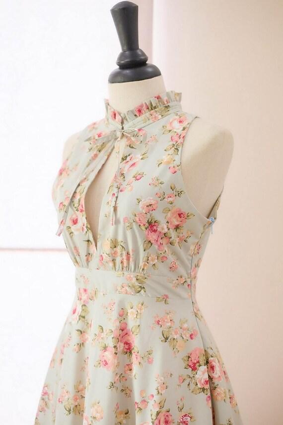 Blau Brautjungfer Kleid Floral Abschlussball Kleid Vintage