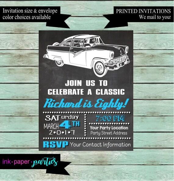 Vintage Classic Retro Car Birthday Party Invitations Invites - Classic car invitations