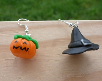 Halloween Pumpkin Fimo - polymer clay earrings witch Hat earrings
