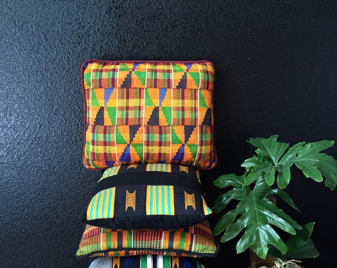 s a l e / decorative yellow tribal african kente throw pillows / kilim / removable cover