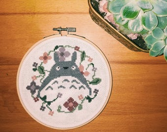 Totoro Flowers Cross Stitch Pattern