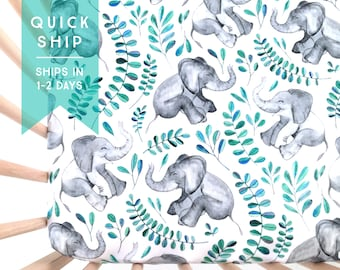 Crib Sheet Emerald Baby Elephants. Fitted Crib Sheet. Baby Bedding. Crib Bedding. Crib Sheets. Elephant Crib Sheet.