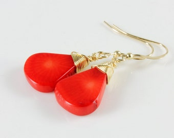 Red Bamboo Coral Earrings, Gold-filled Wire Wrap, fine earrings with red gemstone, gold dangle earrings, summer earrings,gift for her,ER2401