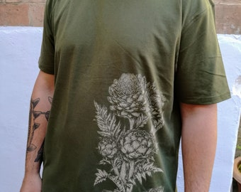 Artichokes - T-Shirt - Veggies - Vegan - Screenprint - Botanical Illustration - Discharge - Organic cotton - Fair trade clothing - Veg Green
