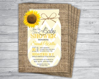 Sunflower invitation etsy sunflower baby wedding bridal burlap mason jar country chic vintage yellow chevron unique popular shower invitation printed filmwisefo