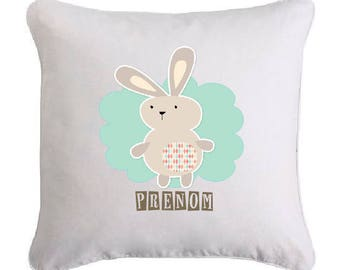 Bunny pillow personalized with name