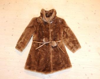 Kids fur coat Soviet kids fur coat Childs faux fur coat Retro kids fur coat Soviet vintage kids winter coat Pom pom kids coat Brown