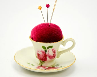 Pincushion 'Rose' porcelain cup and saucer