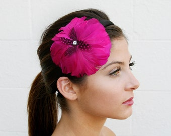 Pink Feather Headband With Swarovski Crystal