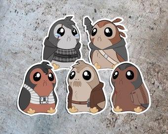 The Last Jedi Star Wars Porg Sticker - Rey Kylo Ren Finn Poe Luke Skywalker