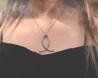 Ouroboros V Snake Rib Necklace